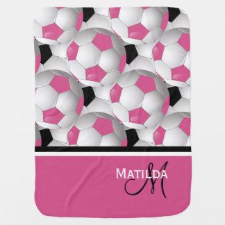 Monogram Pink Black Soccer Ball Pattern Swaddle Blanket