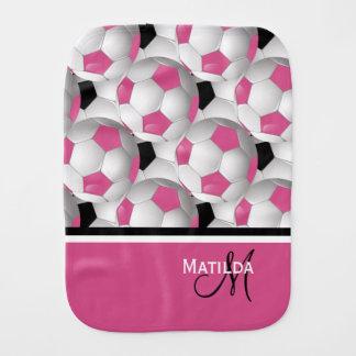Monogram Pink Black Soccer Ball Pattern Baby Burp Cloth