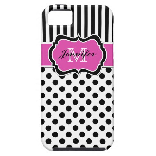 Monogram Pink Black White Striped Dots iPhone 5 iPhone 5 Cases