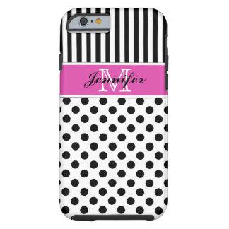 Monogram Pink Black White Striped Dots iPhone 6 ca Tough iPhone 6 Case