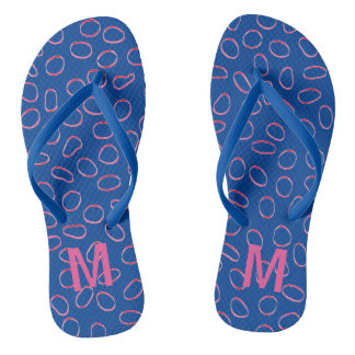Monogram Pink/Blue Cute Fun Unique Pattern Flip Flops