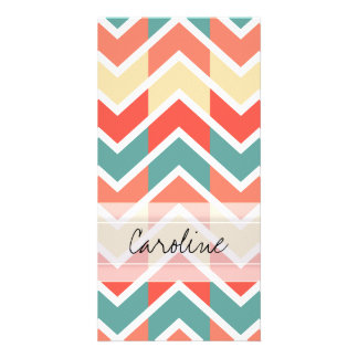 Monogram Pink Blue Geo Abstract Chevron Pattern Card