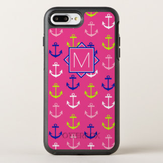 Monogram | Pink & Blue Nautical OtterBox Symmetry iPhone 8 Plus/7 Plus Case