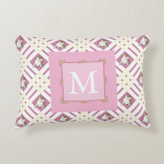 Monogram Pink Bulldog Accent Pillow