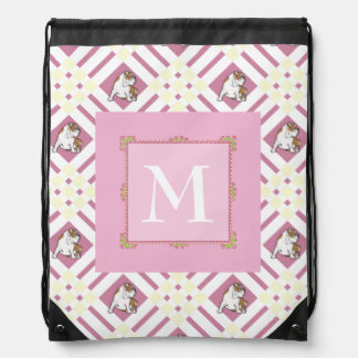 Monogram Pink Bulldog Drawstring Bag