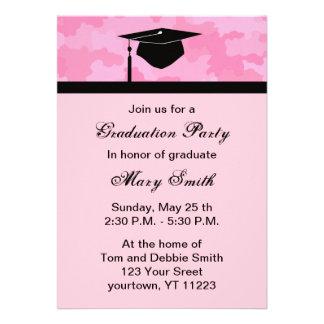 Monogram Pink Camouflage Graduation Party Invite
