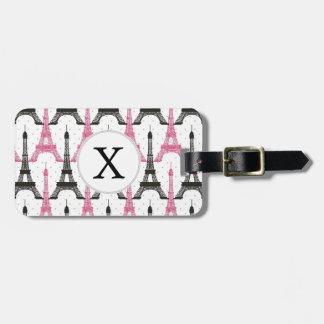 Monogram Pink Chic Eiffel Tower Pattern Luggage Tag