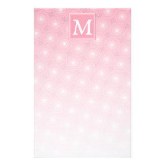 Monogram pink circles pattern stationery