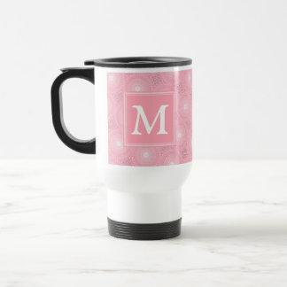 Monogram pink circles pattern travel mug