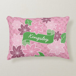 Monogram Pink Clematis Green Banner Japan Kimono Accent Pillow