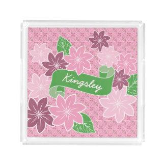 Monogram Pink Clematis Green Banner Japan Kimono Acrylic Tray