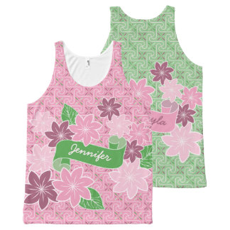 Monogram Pink Clematis Green Banner Japan Kimono All-Over-Print Tank Top