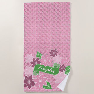 Monogram Pink Clematis Green Banner Japan Kimono Beach Towel