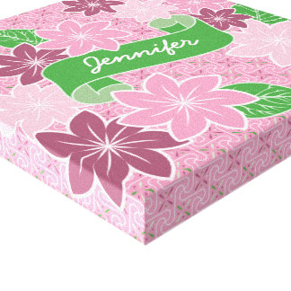 Monogram Pink Clematis Green Banner Japan Kimono Canvas Print