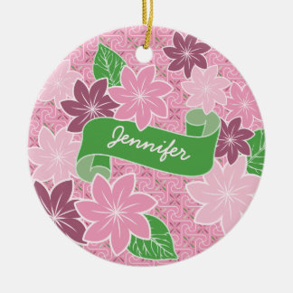 Monogram Pink Clematis Green Banner Japan Kimono Ceramic Ornament