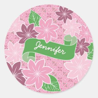 Monogram Pink Clematis Green Banner Japan Kimono Classic Round Sticker
