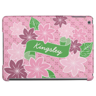 Monogram Pink Clematis Green Banner Japan Kimono Cover For iPad Air