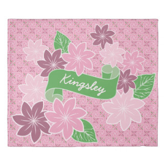 Monogram Pink Clematis Green Banner Japan Kimono Duvet Cover