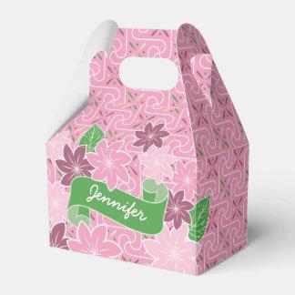 Monogram Pink Clematis Green Banner Japan Kimono Favor Box
