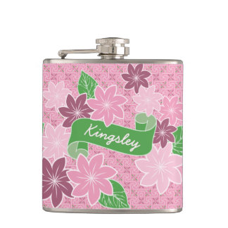 Monogram Pink Clematis Green Banner Japan Kimono Hip Flask