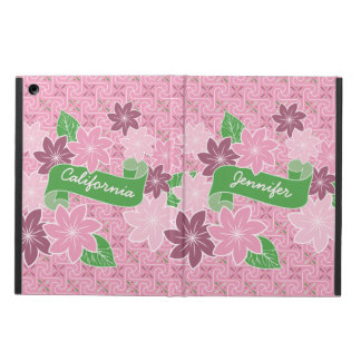 Monogram Pink Clematis Green Banner Japan Kimono iPad Air Cover