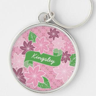 Monogram Pink Clematis Green Banner Japan Kimono Keychain