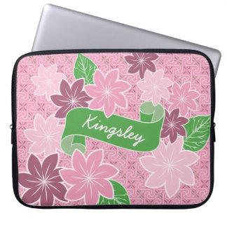 Monogram Pink Clematis Green Banner Japan Kimono Laptop Computer Sleeves