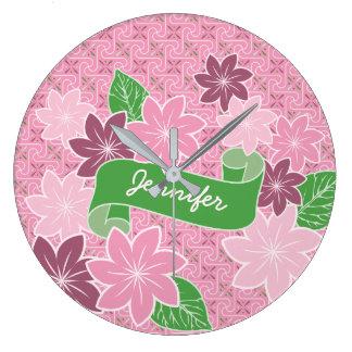 Monogram Pink Clematis Green Banner Japan Kimono Large Clock