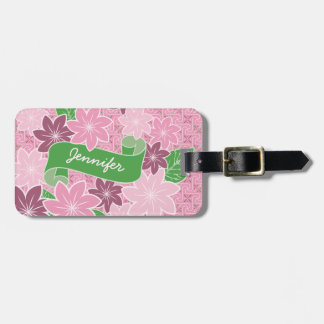 Monogram Pink Clematis Green Banner Japan Kimono Luggage Tag