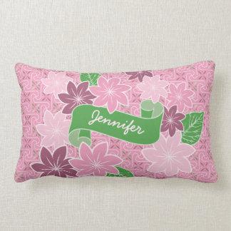 Monogram Pink Clematis Green Banner Japan Kimono Lumbar Pillow