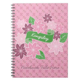 Monogram Pink Clematis Green Banner Japan Kimono Notebook