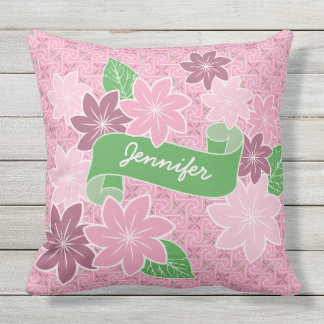 Monogram Pink Clematis Green Banner Japan Kimono Outdoor Pillow