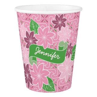 Monogram Pink Clematis Green Banner Japan Kimono Paper Cup