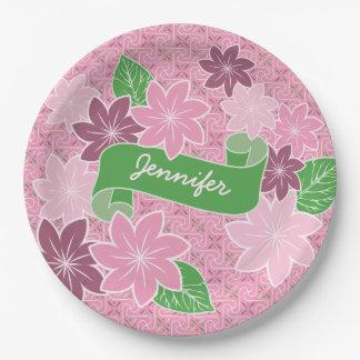 Monogram Pink Clematis Green Banner Japan Kimono Paper Plate