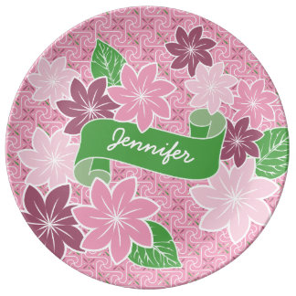 Monogram Pink Clematis Green Banner Japan Kimono Plate
