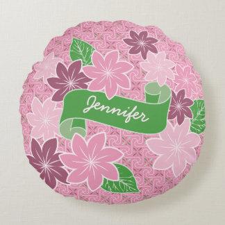 Monogram Pink Clematis Green Banner Japan Kimono Round Pillow