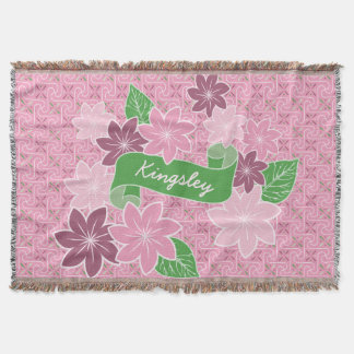 Monogram Pink Clematis Green Banner Japan Kimono Throw Blanket