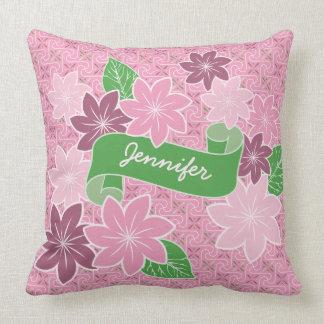 Monogram Pink Clematis Green Banner Japan Kimono Throw Pillow