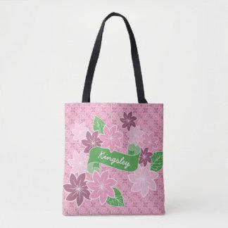 Monogram Pink Clematis Green Banner Japan Kimono Tote Bag