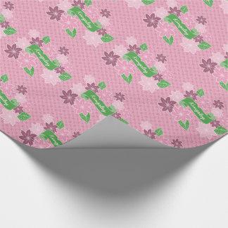 Monogram Pink Clematis Green Banner Japan Kimono Wrapping Paper