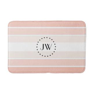Monogram Pink Coral Pastel Stripes Bath Mat