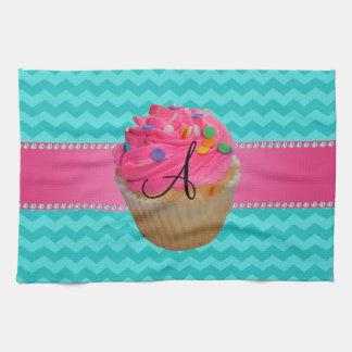 Monogram pink cupcake turquoise chevrons kitchen towel