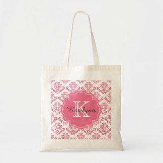 Monogram Pink Damask Pattern Custom Tote Bag