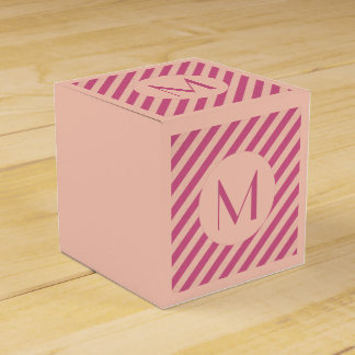 Monogram Pink Dusk and Fuchsia Stripes Favor Box