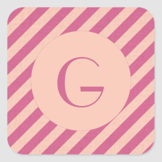 Monogram Pink Dusk and Fuchsia Stripes Square Sticker