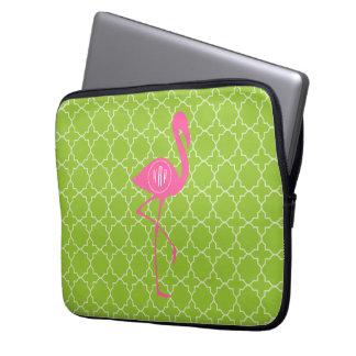Monogram Pink Flamingo Lime Green Quatrefoil Laptop Computer Sleeve