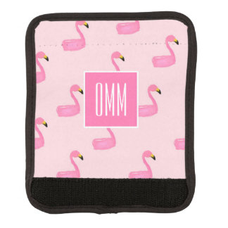 Monogram Pink Flamingo Luggage Handle Wrap