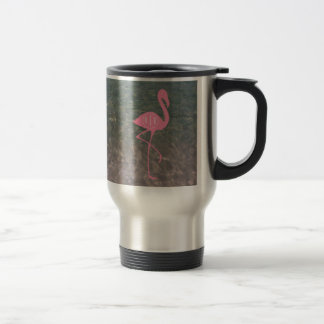 Monogram Pink Flamingo + Ocean Water Travel Mug