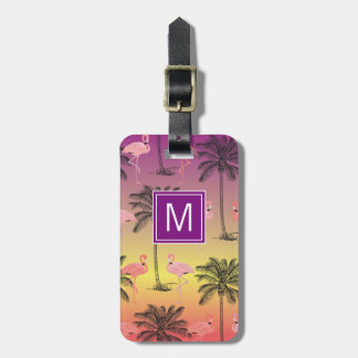 Monogram Pink Flamingos Luggage Tag
