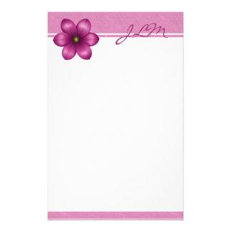 Monogram Pink Flower Stationery Paper